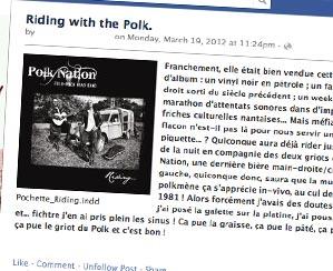 Depuis l'autre Hidalgo, le Sous-Commandant Krondstadt, chef des rebelles du KPK nous livre sa critique de Riding… l'album de Polk Nation !